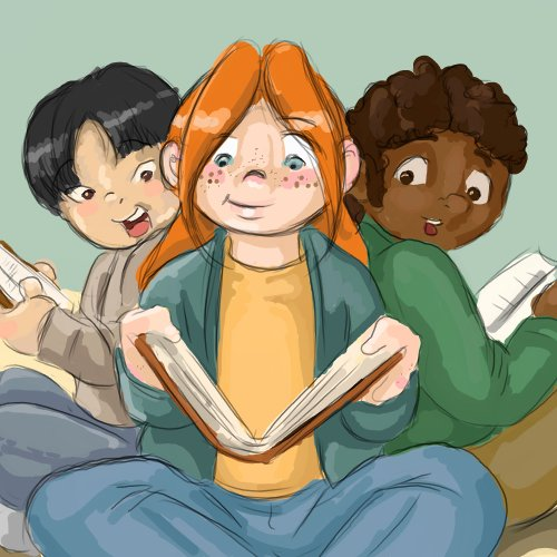 Drawing of Kids Reading Books