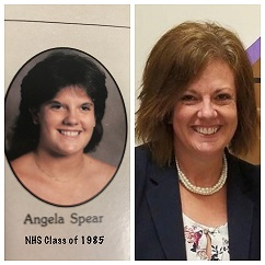 Angela Cobb - yearbook pic and Present pic